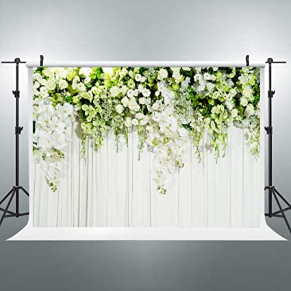 Riyidecor Bridal Floral Wall Backdrop Wedding Photography Background Dessert White Green Rose Flowers Reception Ceremony 7x5ft Decoration Props Party