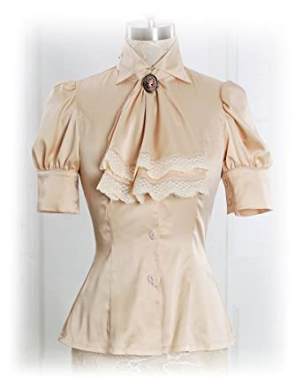 8a4f749fe4cfd Exclusive Vintage Stylish Classic Elegant Dull Silk Short Sleeves Blouse    Jabot for Women