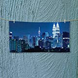 Hiking Towel Lumpur Skyline at Night KLCC Twin Towers Malaysian Landmark Monochromic Photo Navy Black Resort,Hotels/Motels,Gym use L35.4 x W11.8 inch