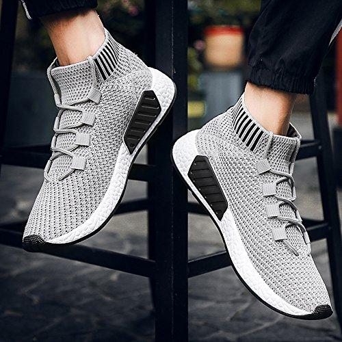 Lanhui Mode Sneakers För Män Med Hög Hjälp Kors Bundna Mjuk Sula Löparskor Grå