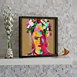 LaModaHome Feminism Wall Art, Frida Kahlo with Flowers in Her Head, Size (13.3'' x 13.3'') Thickness (1.4''), 100% Pine Wood Frame Ready to Hang - Wall Hanging for Living Room, Bedroom, Dorm