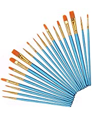 Acrylic Paint Brushes Set, 20pcs Round Pointed Tip Nylon Hair Artist Detail Paintbrushes, Professional Fine Acrylic Oil Watercolor Brushes for Face Nail Body Art Craft Model Miniature Painting