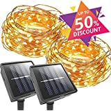 X-CHENG Outdoor String Lights - 100 LED Solar Christmas lighting Decorative Light - Patio - Deck - Party - Christmas Tree - Provide Christmas Fairy Decorative Light (2 pack)(33 FT)