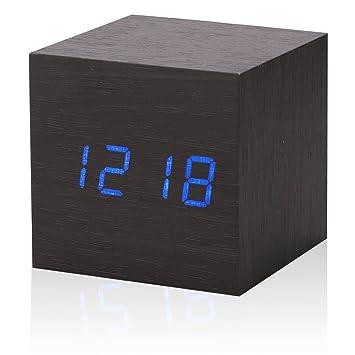 Hochwertig Cadillaps Holz Tischuhr LED Wecker Digital Uhr Schlafzimmer Zeit Kalender  Temperatur Rechteck Uhren