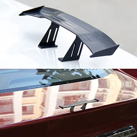Auto Car Tail Wing Mini Auto Carbon Fiber Texture Decoration Without Perforation Tail Decoration LKLK Universal Car Mini Spoiler Wing 6.69 Inch
