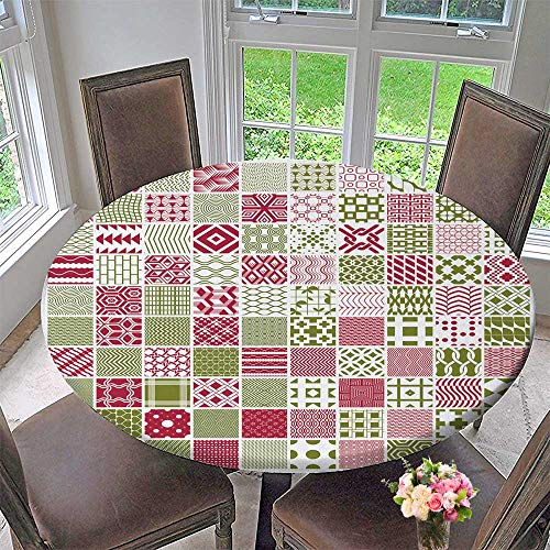 PINAFORE HOME Round Tablecloths Graphic red and Green Ornamental Tiles Collection or Everyday Dinner, Parties 40