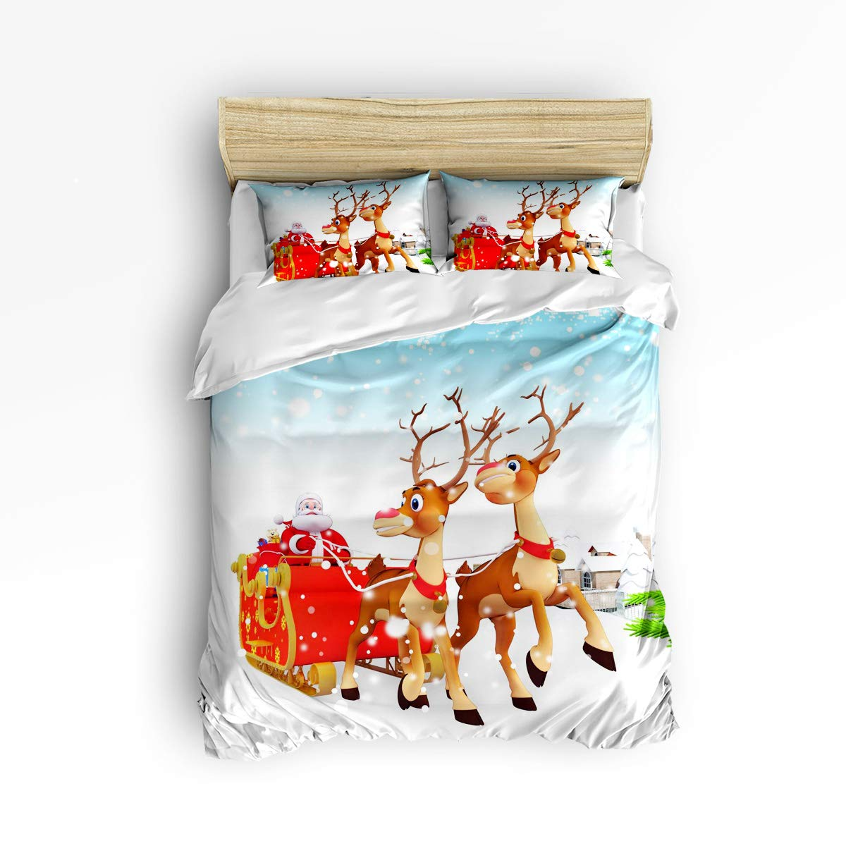 YEHO アートギャラリー ソフト布団カバー3点セット 掛け布団カバー1点 枕カバー2点付き 女の子 男の子 ハンドペイント 銀河と惑星 宇宙のクリスマス 寝具セット Queen Size 20181114SJSWHLWHLYASLXM01695SJSCYAG B07KJRCY4G Christmas773lyag2732 Queen Size
