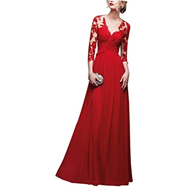ABaowedding Long Lace Deep V Long Sleeve Evening Dress Red and Ivory (size2, A