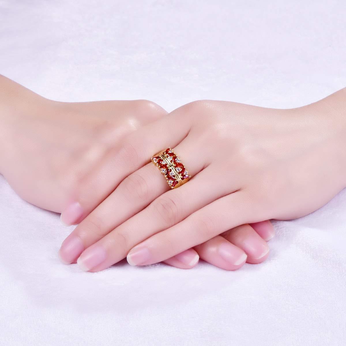 Amazon.com : Muiane Yellow Gold Plated Created Garnet Wide Wedding ...