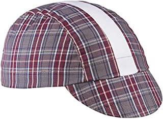 product image for Walz Caps Grey/Maroon/White Stripe 3-Panel Plaid Cycling Cap
