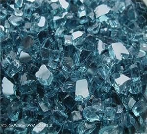 """Fire Pit Glass Fireglass Fireplace Glass, ~1/4"""" Arctic Blue Reflective, 10 LBS"""