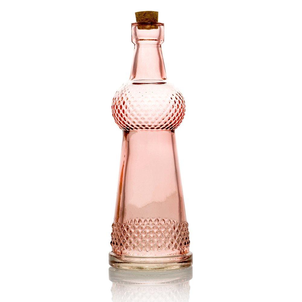 Quasimoon PaperLanternStore.com Savannah Pink Vintage Glass Bottle Wedding Flower Vase