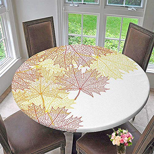 Mikihome Chateau Easy-Care Cloth Tablecloth Collection Pattern with Maple Tree Fall Leaves Skeleton Dried Golden Forms Halloween Decoration for Home, Party, Wedding 59