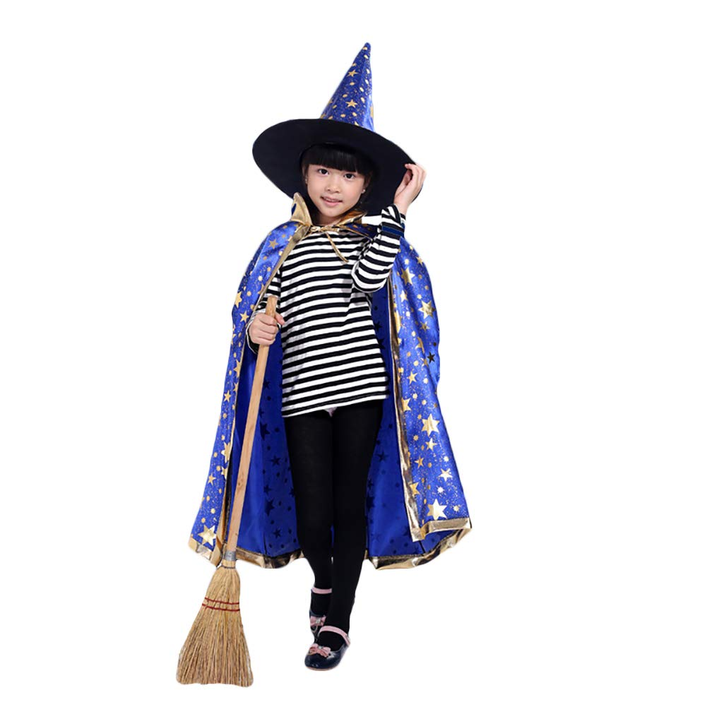 KENANLAN 1Pc Halloween Stage Performance Clothes,Stand Collar Stars Witch Wizard Cloak Cape Hat Set