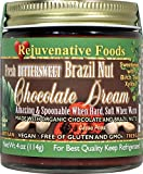 Xylitol-Sweet Organic Bittersweet Chocolate-Dream Pure Rejuvenative Foods Fresh Brazil-Nut Dairy-Free StoneGround USDA-Certified-Organic white-sugar-free Fudge Candy-in-Glass-9 oz
