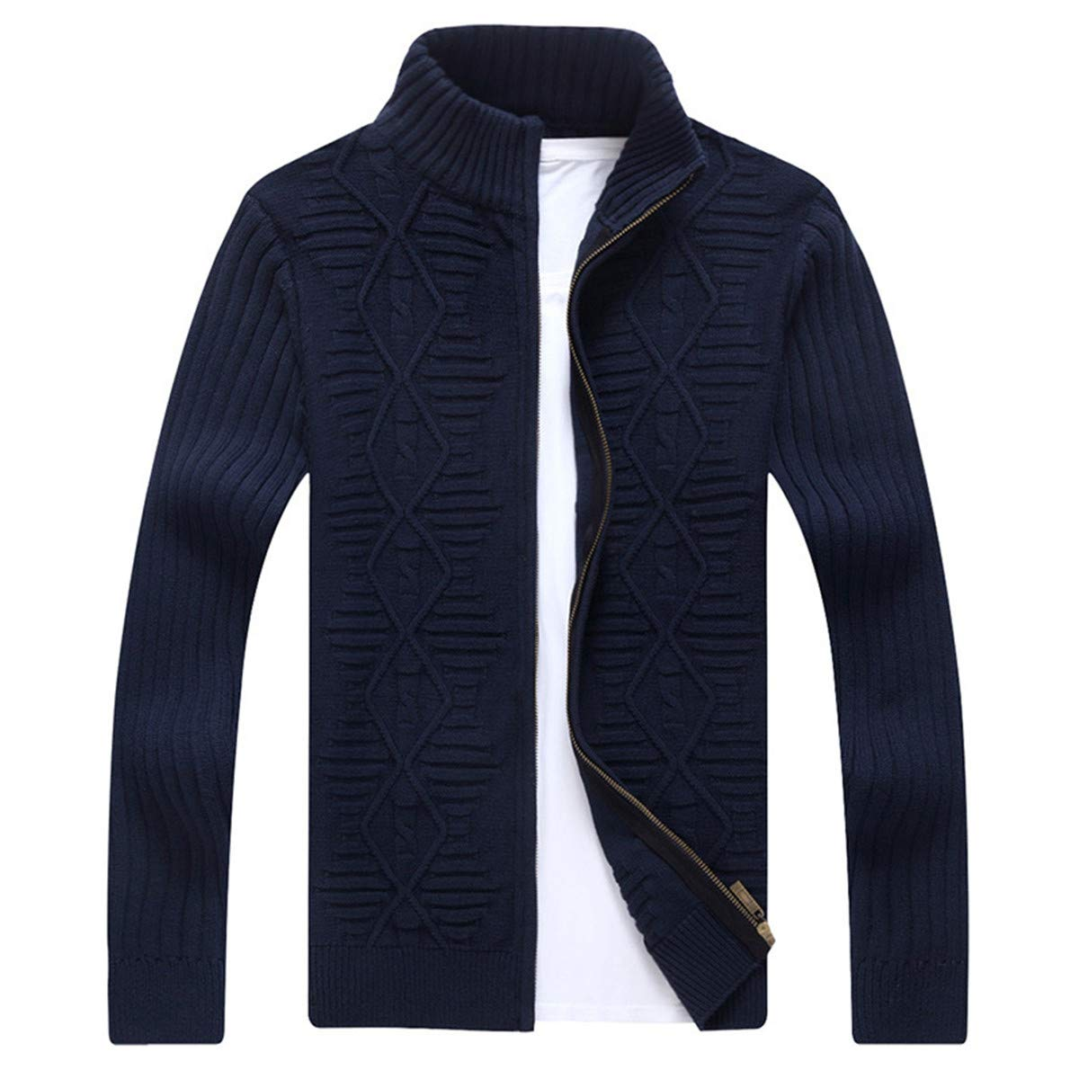 Mens Knitting Full Zip Up Front Wave Pattern Casual Slim Fit Cardigan Sweaters