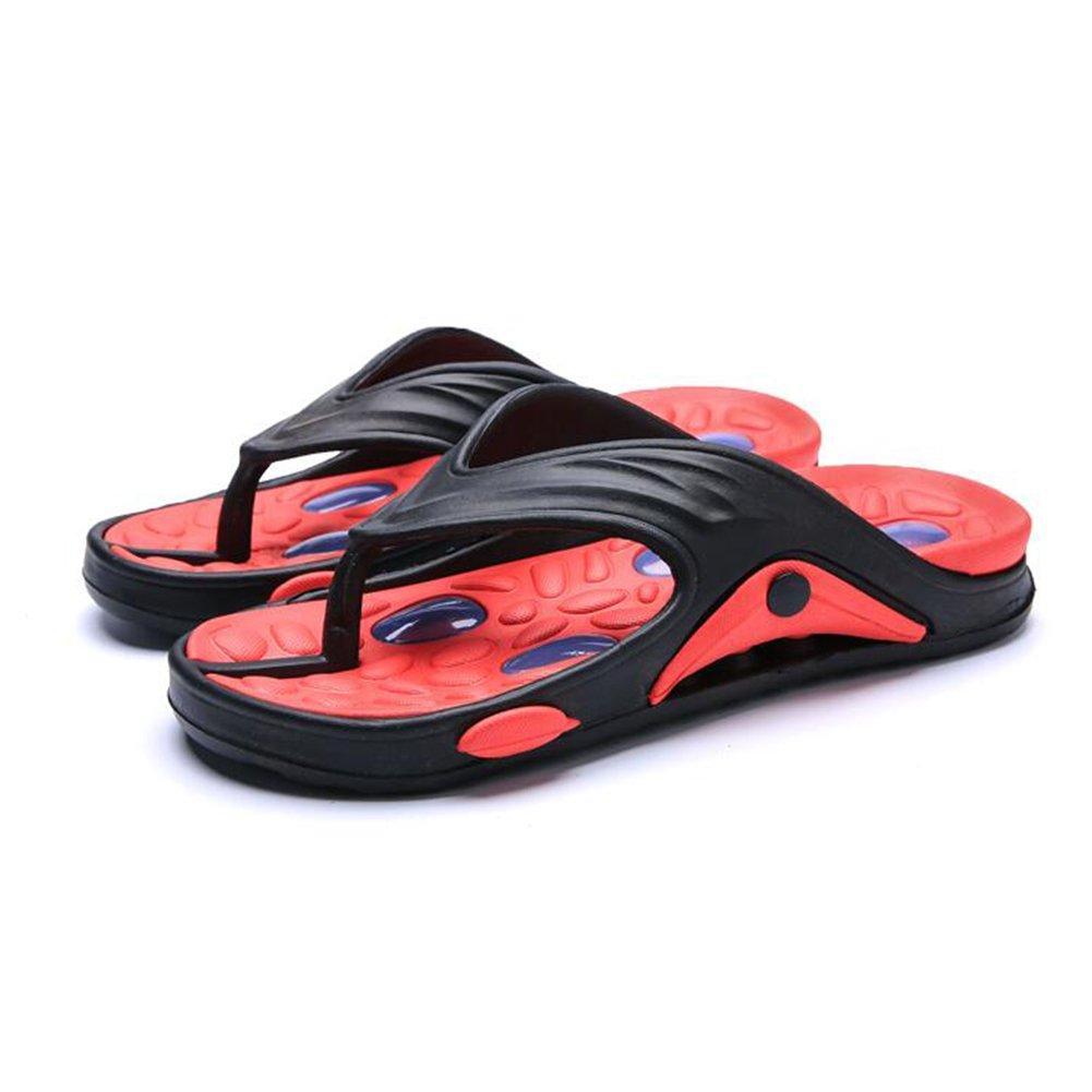 QIDI Sandalen Männlich Sommer Outdoor Rutschfest Atmungsaktiv Blau Grün Rot Strand Schuhe Hausschuhe (Farbe : Blau  größe : EU42/UK8.5) Rot