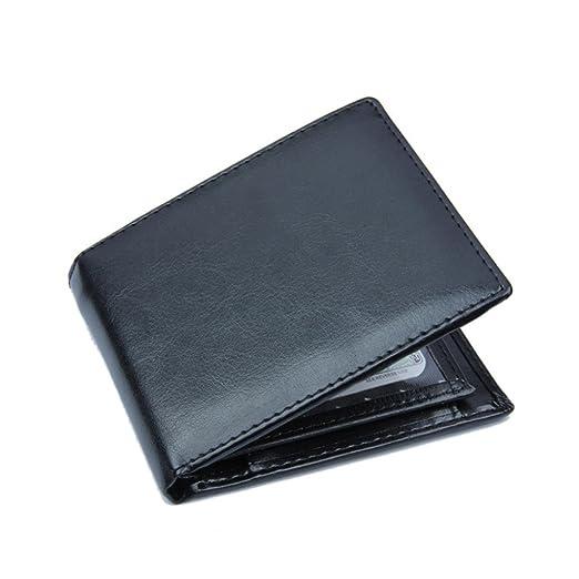 63926ff04dd511 CLOOM Herren PU Leder Geldbörse Brieftasche Herren Studenten Brieftasche  Kartenhalter Geldbeutel klein Schwarze Herren Ledergeldbörse Querformat