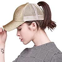 FURTALK Womens Messy Bun Ponytail Mesh Outdoor Trucker Hat Adjustable Snapback Blank Baseball Cap Hat