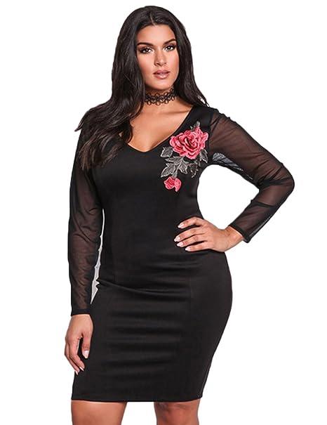 Yiwa Fashionable Deep V-Neck Gauze See-Through Dress Sexy Long Sleeve Printed Skirt