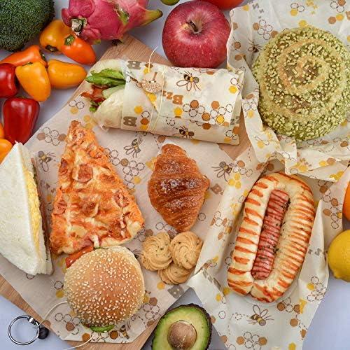 Pan Envoltorios Almacenamiento de Alimentos Sostenibles y Ecol/ógicos para Quesos Lavable y sin Pl/ástico Frutas Volwco 5 Pieza Envolturas de Cera de Abejas Envoltura de Alimentos Reutilizable