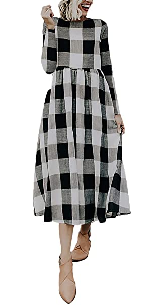 3a64ad704 Lounayy Vestido Largo para Damas Elegante Vestido De Cóctel De Primavera  Moda A Cuadros De Manga