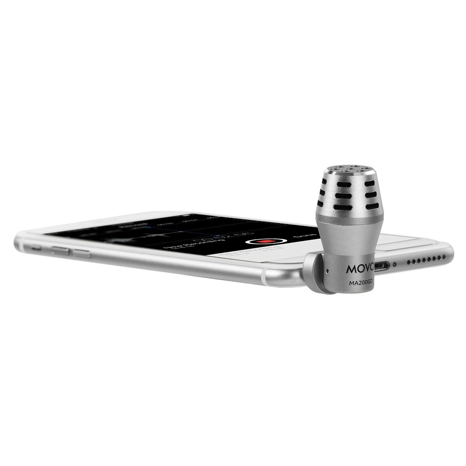 Movo MA200 Omni-Directional Calibrated TRRS Condenser Microphone for Apple iPhone, iPod Touch, iPad (Silver) by Movo