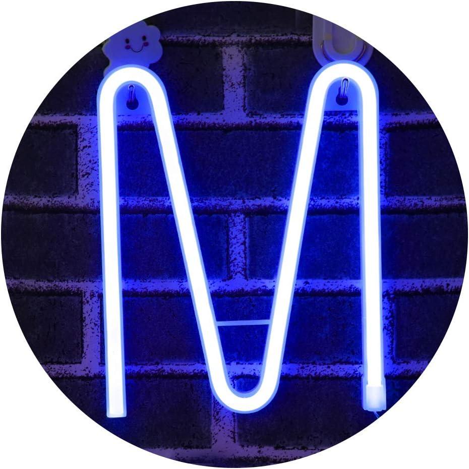 Light Up Letters for Wall Decor, Neon Letter Lights Alphabet Words Signs Xmas Lamp for Kids Teen Girls Bedroom Decor -blue Letter M