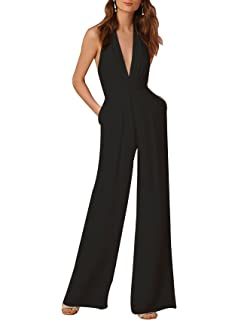 c0814c4c5dc6 Indistyle Women s Elegant Deep V Neck Backless Halter Jumpsuit Sleeveless  Wide Long Pants Rompers