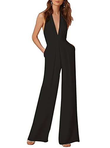 3967d6be706e Amazon.com  Indistyle Women s Elegant Deep V Neck Backless Halter Jumpsuit  Sleeveless Wide Long Pants Rompers  Clothing