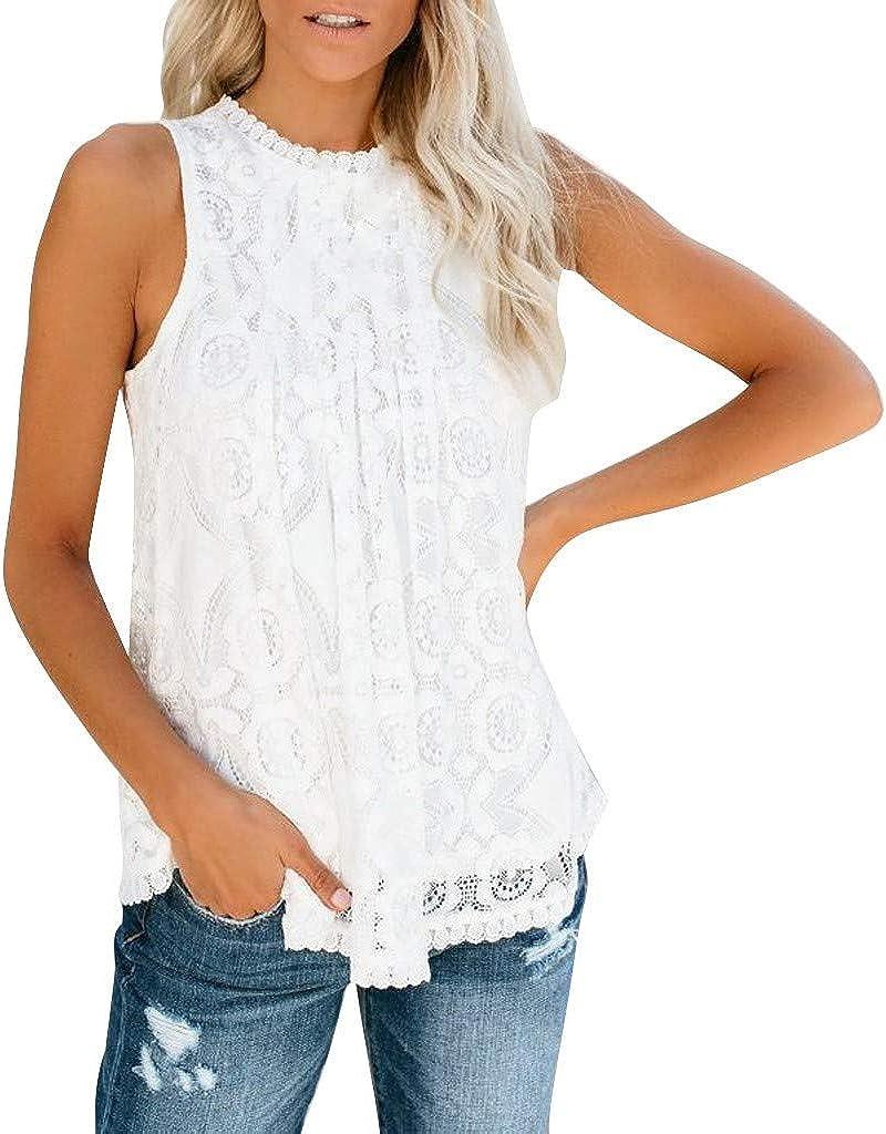 Camisetas sin Mangas Mujer, Verano Moda Camiseta de Tirantes Casual Encaje Original Suelto Color sólido Top Shirts Camisas Camiseta vpass