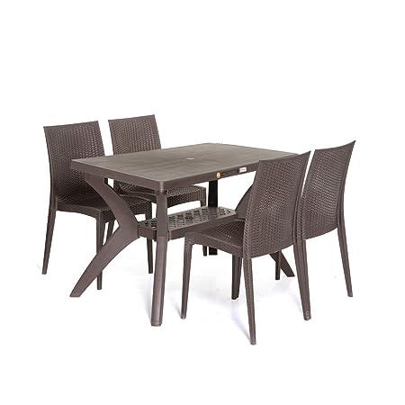 Varmora 1+4 Dinning Table Set Savor (Brown)