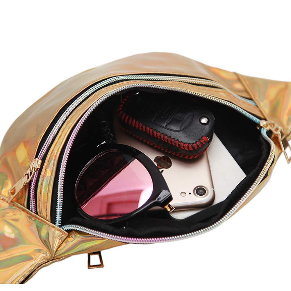 Estwell Marsupio Sportivo Donna Uomo Viaggio Marsupio Running Impermeabile Tracolla Regolabile Moda Brillante 3 Zip-Marsupio per Corsa Ciclismo Escursione Campeggio