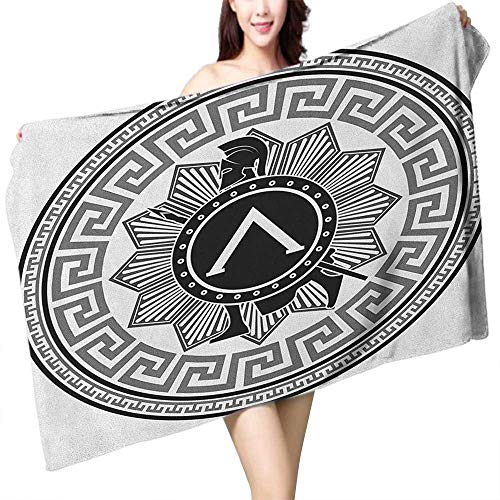(Soft Bath Towel Toga Party Label with Greek Pattern Spartan Figures Silhouette Retro Icon Design W20 xL39 Suitable for bathrooms, Beaches,)