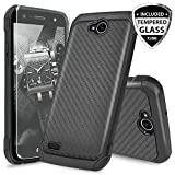 lg 2 cases - LG X Power 2 M320 Case, LG Fiesta LTE Case, LG X Charge Case, LG Fiesta 2 Case, with TJS [Tempered Glass Screen Protector] Shock Absorbing Armor Case Cover Carbon Fiber Back with Hard TPU Inner Layer