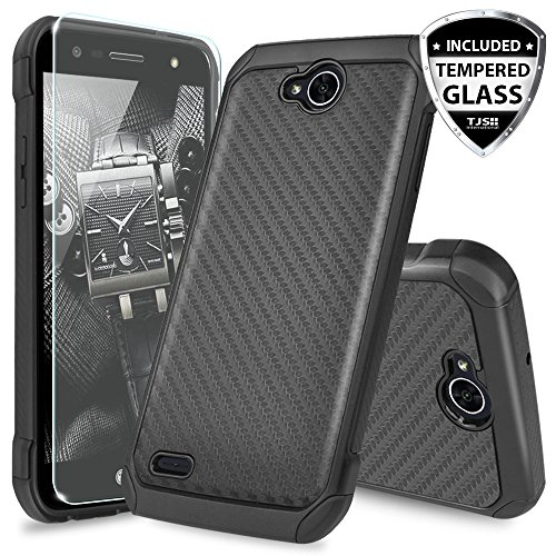 LG X Power 2 M320 Case, LG Fiesta LTE Case, LG X Charge Case, LG Fiesta 2 Case, with TJS [Tempered Glass Screen Protector] Shock Absorbing Armor Case Cover Carbon Fiber Back with Hard TPU Inner Layer (Carbon Fiber Phone Cover)