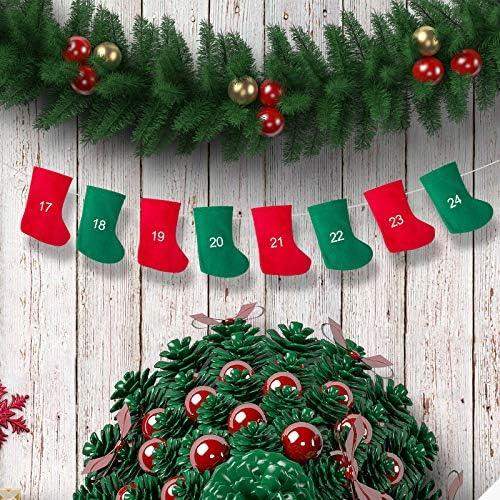 Liteness Calendrier de lAvent Guirlande 24 Morceaux de Calendrier de la Couronne de lAvent Calendrier Guirlande de No/ël 11x16 cm Calendrier Nouvel an Sac Cadeau Cadeau Sac-Cadeau De No/ël Enhanced