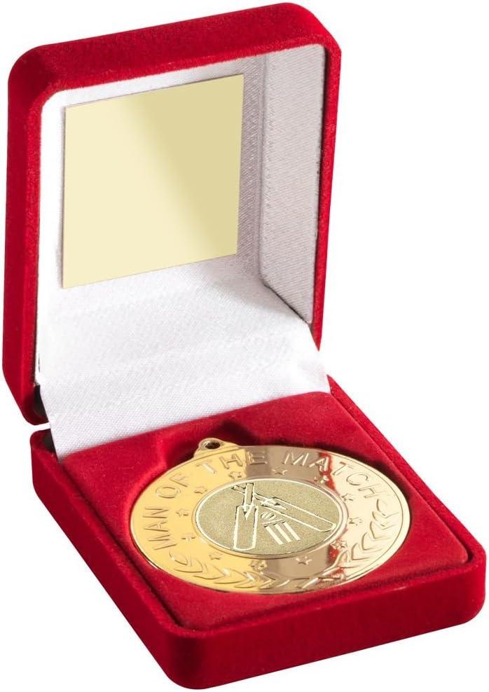Caja de terciopelo roja y medalla de 50 mm con interior de críquet M.O.T.M TROPHY – dorado – 3,5i: Amazon.es: Deportes y aire libre