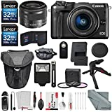 Canon EOS M6 Mirrorless Digital Camera with 15-45mm Lens Bundle with 2 X 32GB + Flash + Remote + Tripod + Filters + Camera Case & Strap + Xpix Lens Accessories