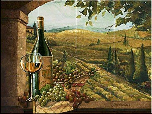 Ceramic Tile Mural - Vineyard Window II- by Janet Stever - Kitchen backsplash / Bathroom (Tuscan Window Mural)