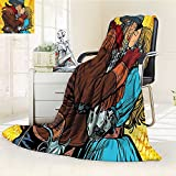 AmaPark Lightweight Blanket Western Steampunk Robots Western Style Cowboy Kisses The Girl Yellow and Brown Digital Printing Blanket