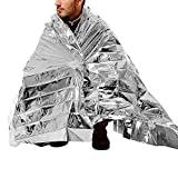 SUPOW® Foldable Emergency Blanket, 210X140cm Silver Rescue Solar Thermal Space Mylar Blanket First Aid Warm Foil Blanket Shelters Waterproof Emergency Survival Insulation Blankets Emergency Camping Tent Bag Mat Rain Cape For Outdoor Sports Travel Hiking Climbing Cycling