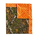 Blossoms and Buds Mossy Oak and Orange Minky Dot Blanket