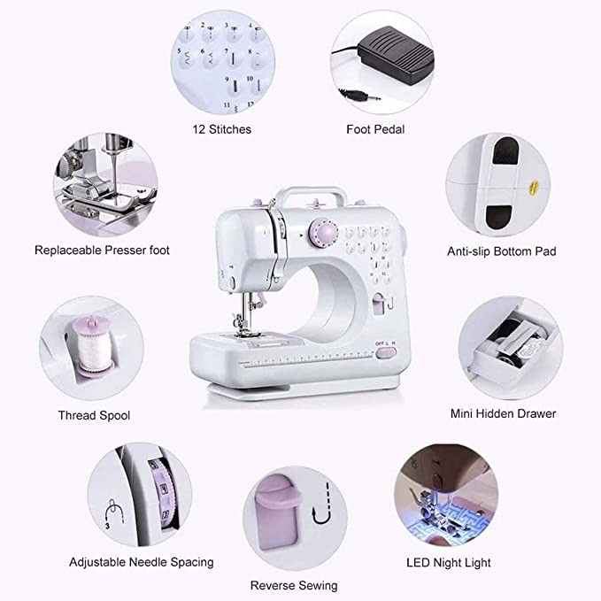 2 Speeds LED Sewing Light,Blue Foot Pedal Mini Electric Household Multi-Function Crafting Mending Sewing Machine,features 12 built-in stitches YOUXIN Portable Sewing Machine for Beginners