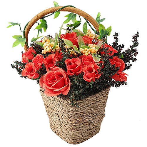 RERXN Artificial Flowers in Basket Silk Rose Arrangement Home Party Wedding Decor (Red)