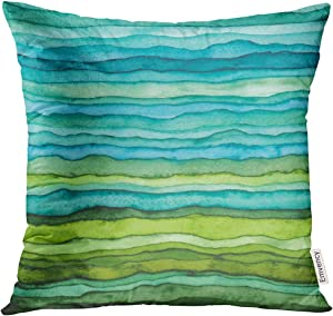 Golee Throw Pillow Cover Abstract Bright Blue and Green Waves Hand Drawn Stripped Watercolor Brush Dye Decorative Pillow Case Home Decor Square 18x18 Inches Pillowcase