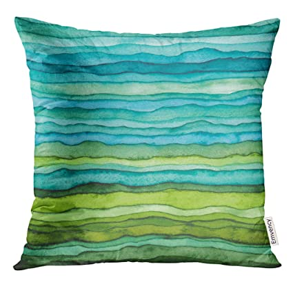 Golee Throw Pillow Cover Abstract Bright Blue and Green Waves Hand Drawn  Stripped Watercolor Brush Dye dcff6a2bcee5