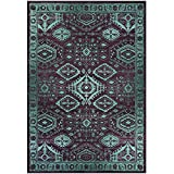 Area Rugs, Maples Rugs [Made in USA][Georgina] 7' x 10' Non Slip Padded Large Rug for Living Room, Bedroom, and Dining Room - Wineberry/Teal