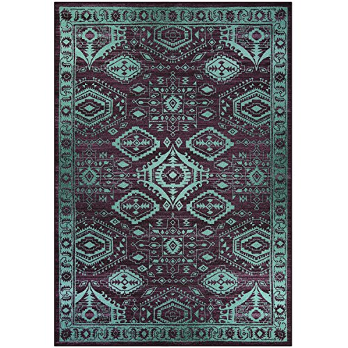 Area Rugs, Maples Rugs [Made in USA][Georgina] 7' x 10' Non Slip Padded Large Rug for Living Room, Bedroom, and Dining Room - Wineberry/Teal by Maples Rugs