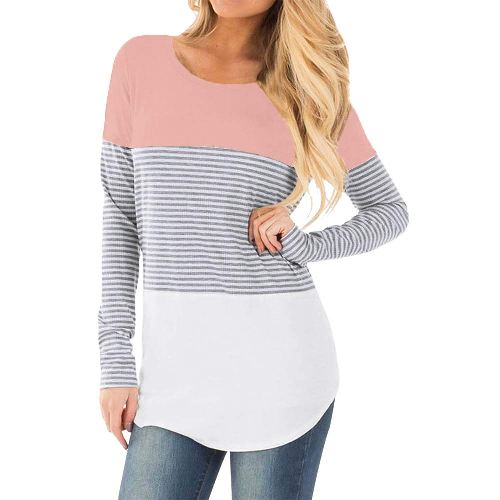 49dca8c93a1df Amazon.com: Casual Nursing Tops,Maternity Women Breastfeeding Tops Striped  Double Layered Long Sleeve T-Shirts: Clothing